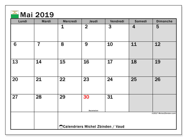 Calendrier mai 2019, avec les jours fériés du Canton de Vaud. Organisateur à imprimer gratuit.