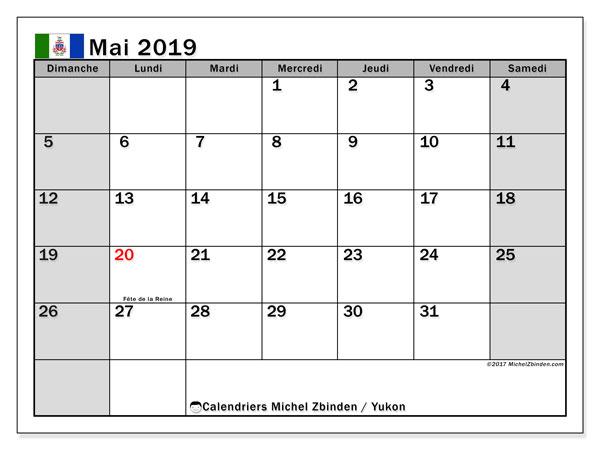 Calendrier mai 2019, avec les jours fériés du Yukon. Calendrier pour le mois à imprimer gratuit.