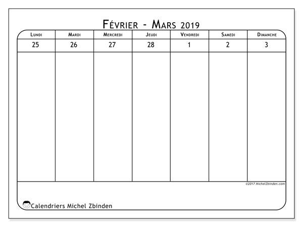 Calendrier mars 2019, 43-1LD. Calendrier gratuit à imprimer.
