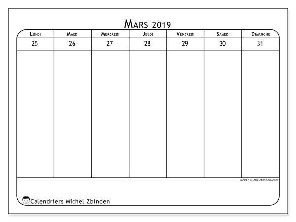 Calendrier mars 2019, 43-5LD. Semainier à imprimer gratuit.