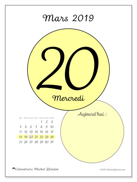 Calendrier mars 2019, 45-20LD. Calendrier pour la journée à imprimer gratuit.