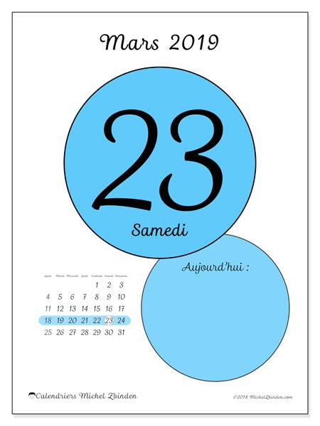 Calendrier mars 2019, 45-23LD. Calendrier pour la journée à imprimer gratuit.