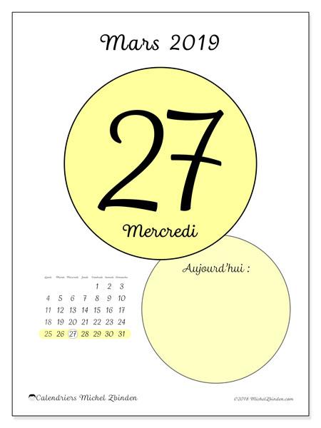Calendrier mars 2019, 45-27LD. Calendrier pour la journée à imprimer gratuit.
