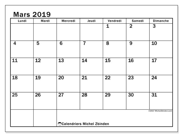 Calendriers mars 2019 (LD).  50LD.