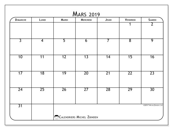 Calendrier mars 2019 (35DS)