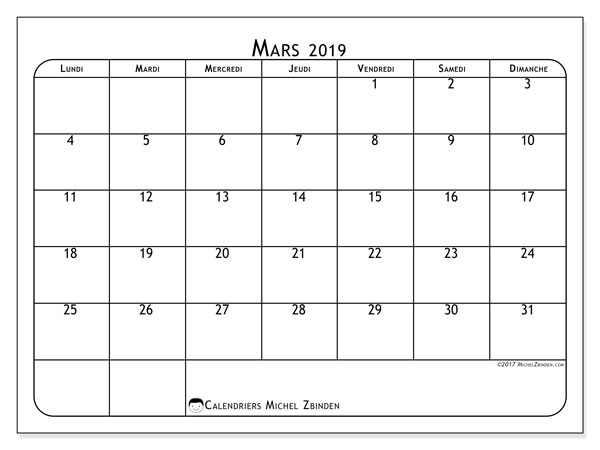 Calendriers mars 2019 (LD).  51LD.