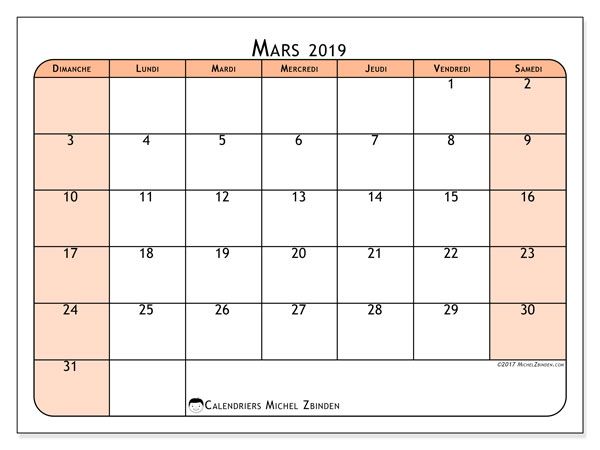 Calendrier mars 2019 (61DS)