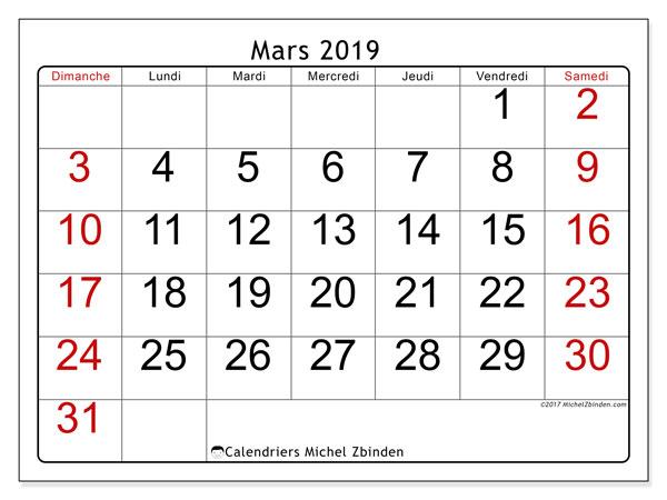 Calendrier  mars 2019, 62LD