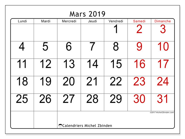 Calendriers mars 2019 (LD).  62LD.