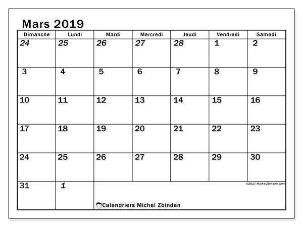 Calendrier mars 2019 (66DS)