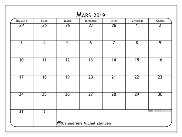 Calendrier mars 2019 (67DS)