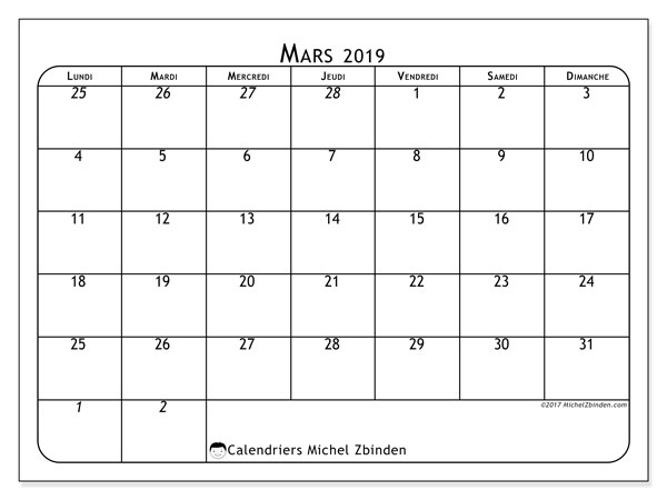 Calendriers mars 2019 (LD).  67LD.