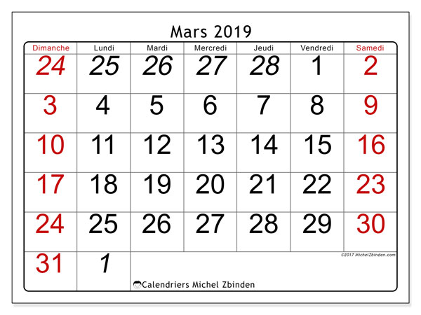 Calendrier mars 2019 (72DS)