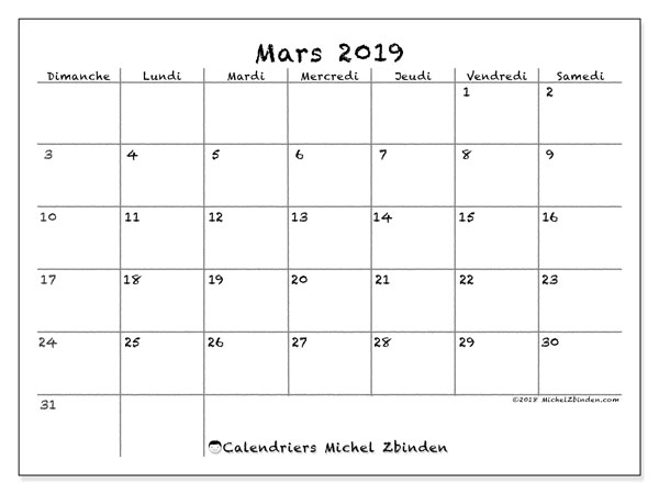 Calendrier mars 2019 (77DS)