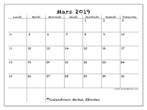Calendriers mars 2019 (LD).  77LD.