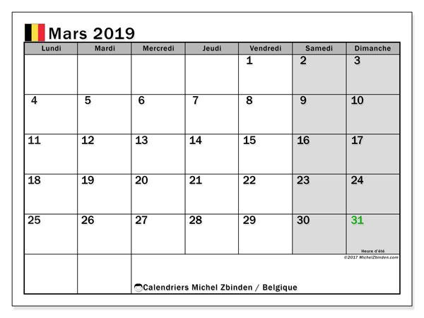 Calendrier mars 2019, avec les jours fériés de la Belgique. Calendrier imprimable gratuit.
