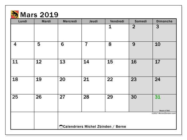 Calendrier mars 2019, avec les jours fériés du Canton de Berne. Calendrier gratuit à imprimer.