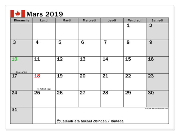 Calendrier mars 2019, avec les jours fériés du Canada. Calendrier gratuit à imprimer.
