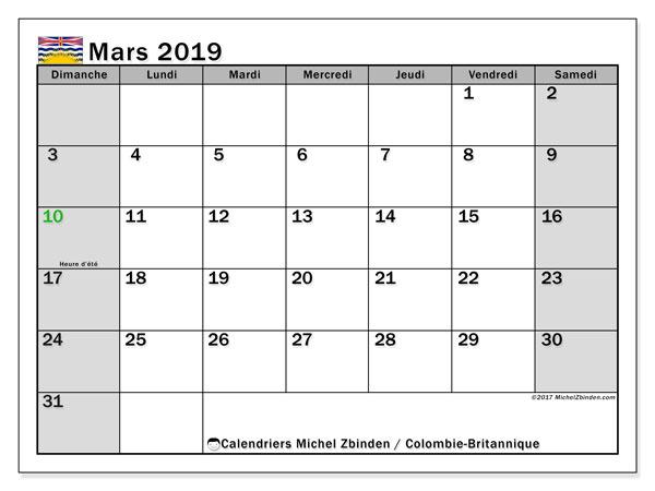 Calendrier mars 2019, avec les jours fériés de la Colombie-Britannique. Calendrier gratuit à imprimer.