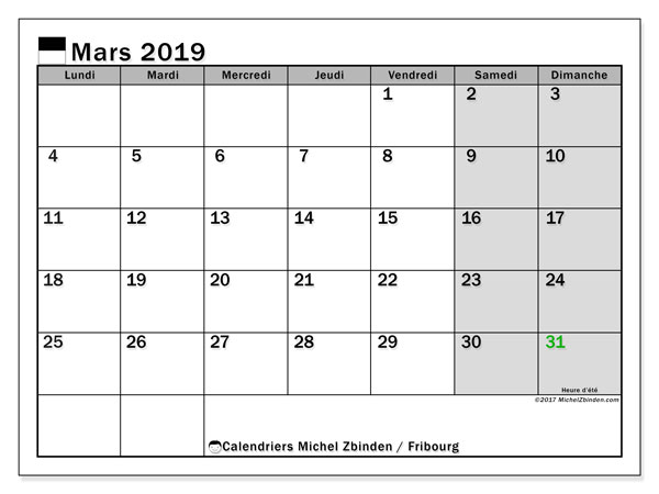 Calendrier Fribourg, mars 2019