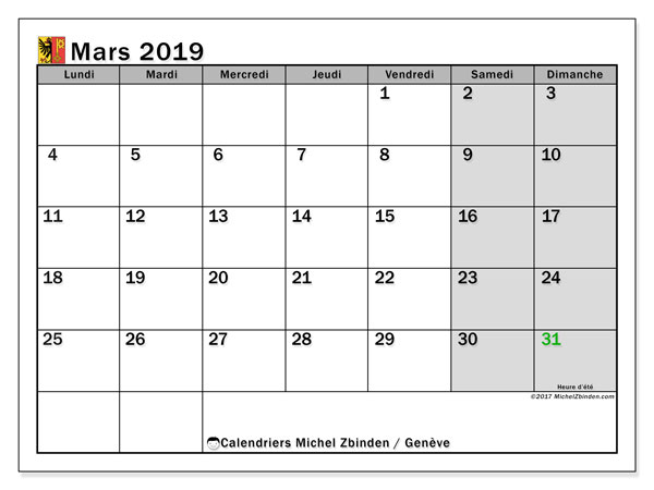 Calendrier mars 2019, avec les jours fériés du Canton de Genève. Calendrier gratuit à imprimer.