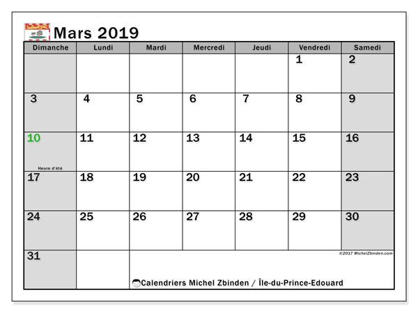 Calendrier mars 2019 - Île-du-Prince-Edouard. Calendrier à imprimer : jours fériés officiels.