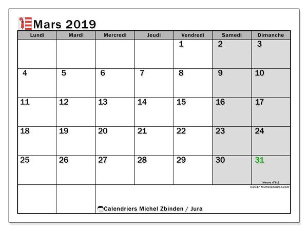 Calendrier mars 2019, avec les jours fériés du Canton du Jura. Calendrier gratuit à imprimer.