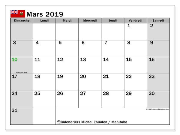 Calendrier mars 2019 - Manitoba. Calendrier à imprimer : jours fériés officiels.