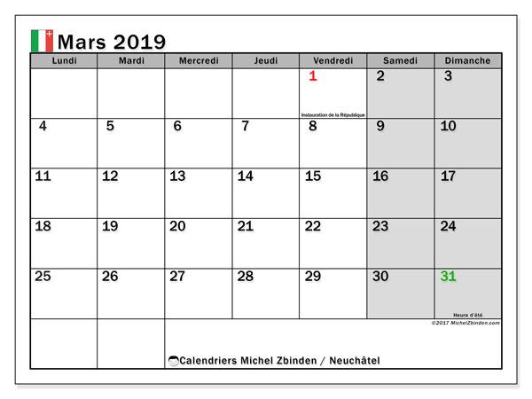 Calendrier mars 2019, avec les jours fériés du Canton de Neuchâtel. Calendrier pour le mois à imprimer gratuit.