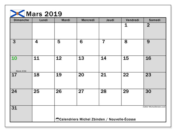 Calendrier mars 2019, avec les jours fériés de la Nouvelle-Écosse. Calendrier Fêtes et jours fériés à imprimer gratuit.