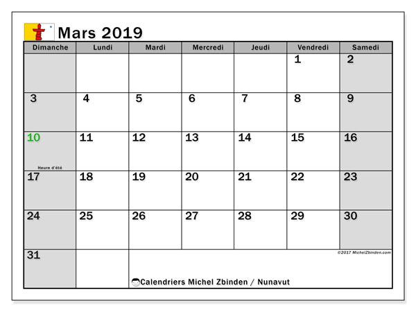 Calendrier mars 2019, avec les jours fériés du Nunavut. Planificateur à imprimer gratuit.