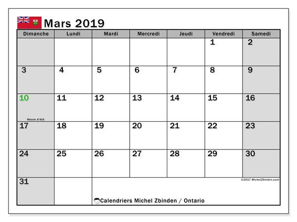 Calendrier mars 2019 - Ontario. Calendrier à imprimer : jours fériés officiels.