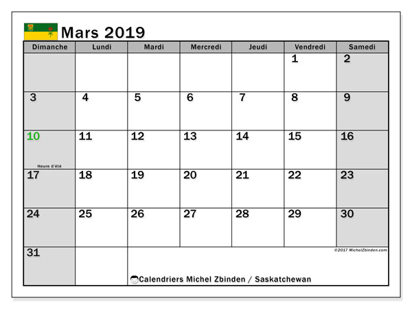 Calendrier mars 2019 - Saskatchewan. Calendrier à imprimer : jours fériés officiels.