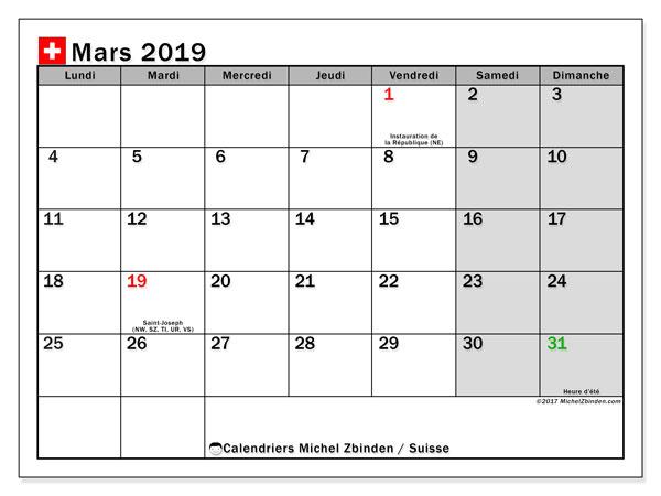 Calendrier mars 2019 - Suisse. Calendrier à imprimer : jours fériés officiels.