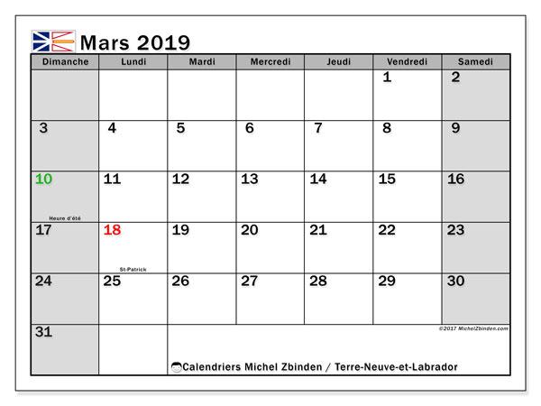 Calendrier mars 2019, avec les jours fériés de Terre-Neuve-et-Labrador. Calendrier mensuel à imprimer gratuit.