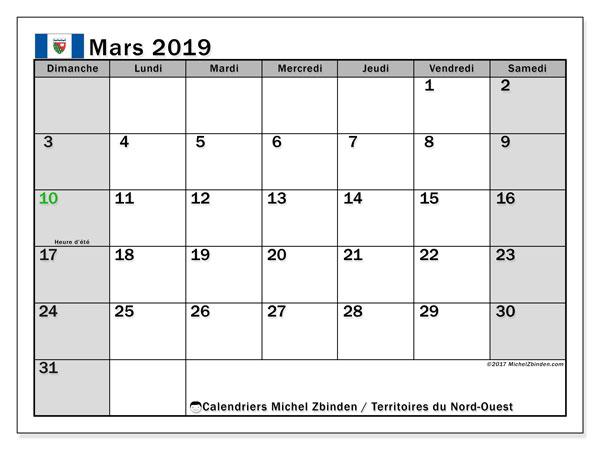 Calendrier mars 2019 - Territoires-du-Nord-Ouest. Calendrier à imprimer : fêtes et jours fériés.