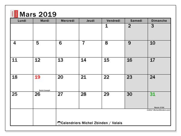 Calendrier mars 2019, avec les jours fériés du Canton du Valais. Planificateur à imprimer gratuit.