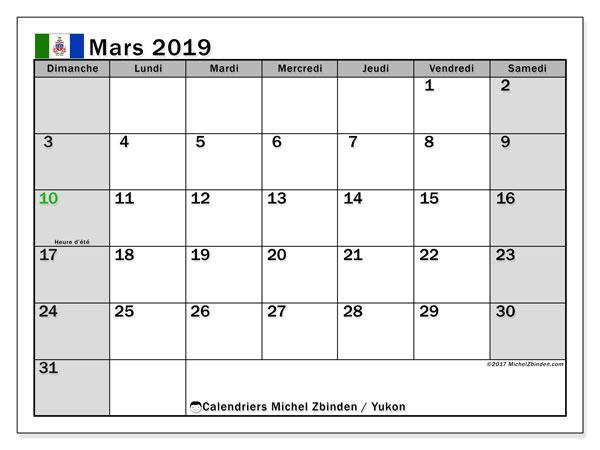 Calendrier mars 2019, avec les jours fériés du Yukon. Calendrier gratuit à imprimer.
