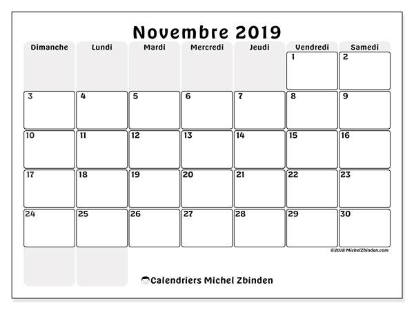 Calendrier novembre 2019, 44DS. Calendrier gratuit à imprimer.