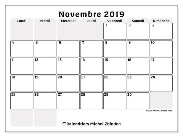 Calendrier novembre 2019, 44LD. Calendrier mensuel à imprimer gratuit.