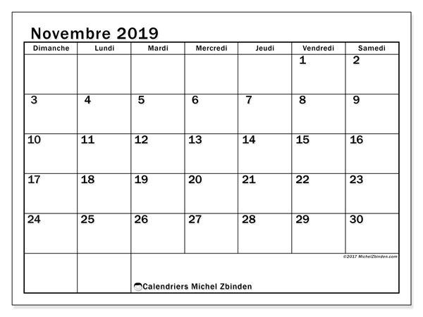 Calendrier novembre 2019, 50DS. Organisateur à imprimer gratuit.