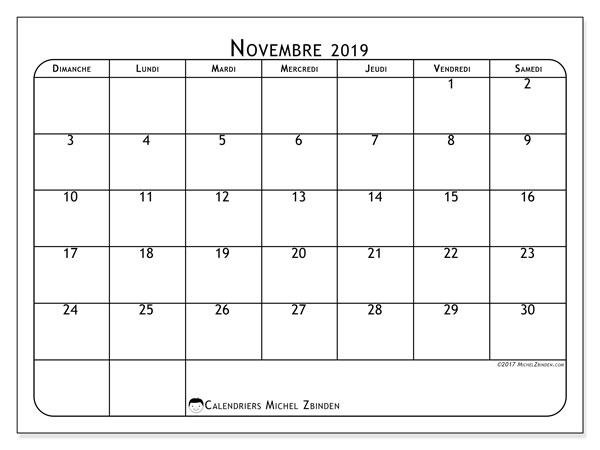 Calendrier novembre 2019, 51DS. Organisateur à imprimer gratuit.