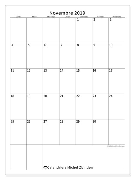 Calendrier novembre 2019, 52LD. Planificateur à imprimer gratuit.