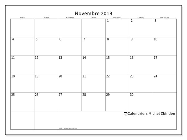 Calendrier novembre 2019, 53LD. Calendrier mensuel à imprimer gratuit.