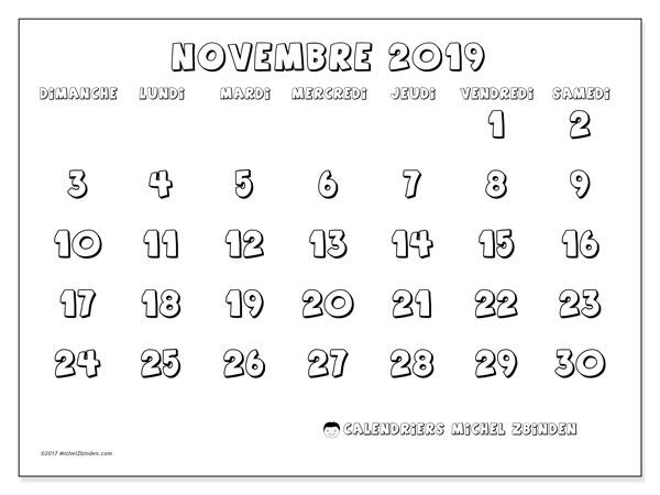 Calendrier novembre 2019, 56DS. Calendrier pour le mois à imprimer gratuit.