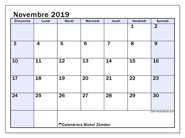 Calendrier novembre 2019, 57DS. Planificateur à imprimer gratuit.