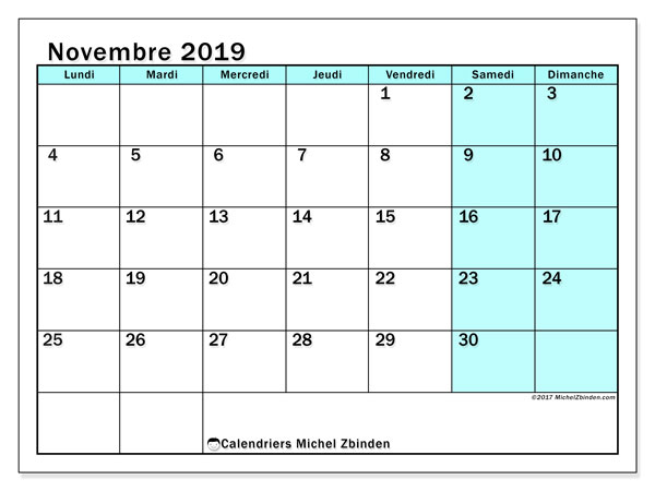 Calendrier novembre 2019, 59LD. Calendrier gratuit à imprimer.