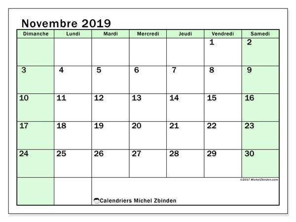 Calendrier novembre 2019, 60DS. Calendrier imprimable gratuit.
