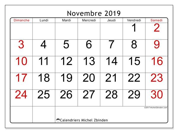 Calendrier novembre 2019, 62DS. Calendrier à imprimer gratuit.