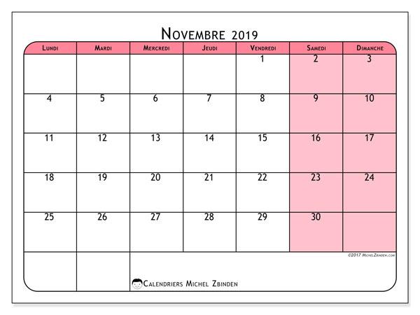 Calendrier novembre 2019, 64LD. Organisateur à imprimer gratuit.